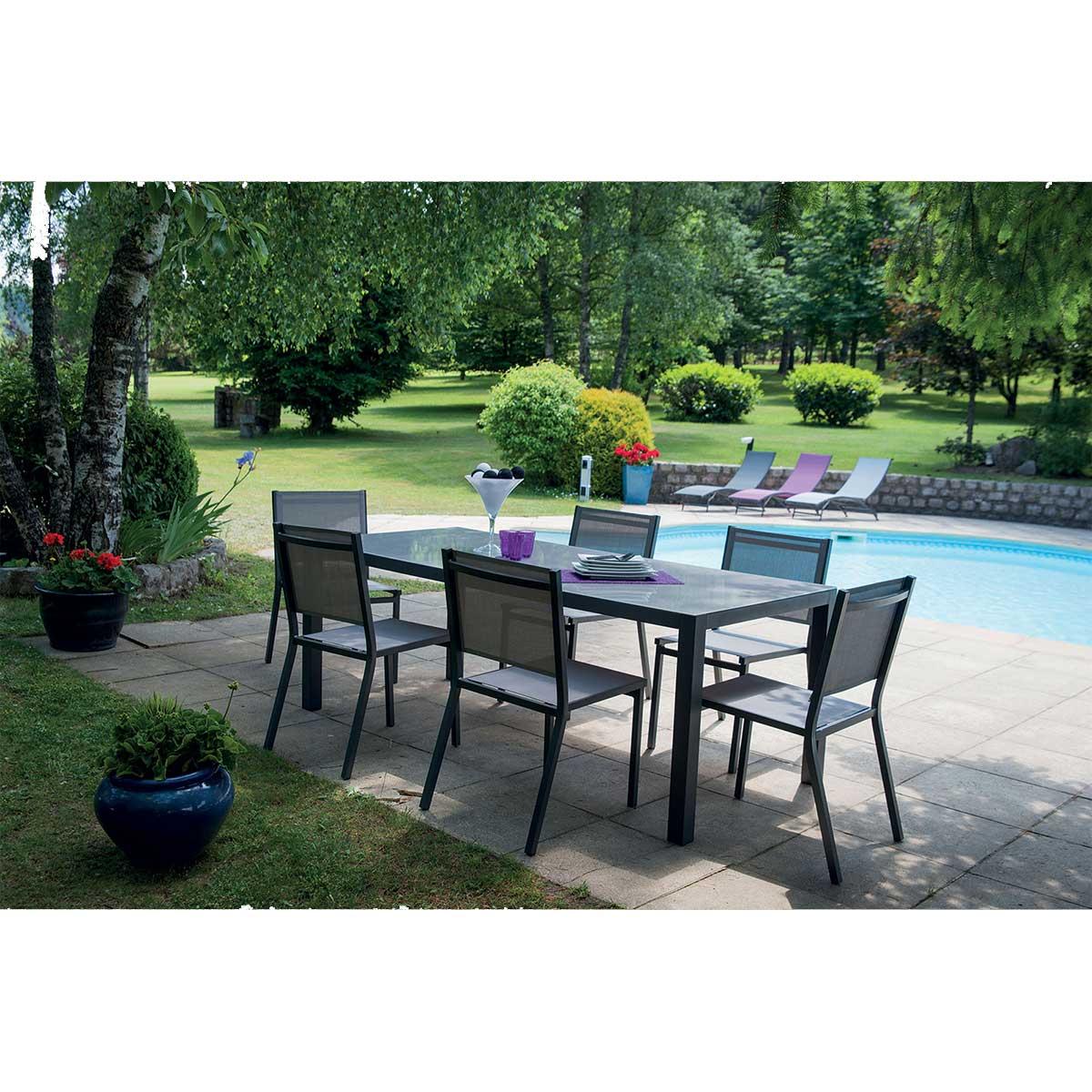 Salon de jardin avec chaises - Gris Perle - 135/270 cm x D 90 cm x h 75 cm
