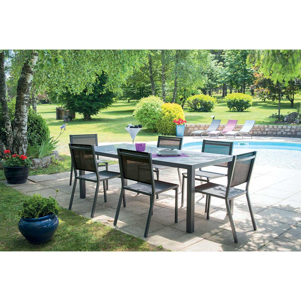 Salon de jardin avec chaises - Anthracite - 135/270 cm x D 90 cm x h 75 cm