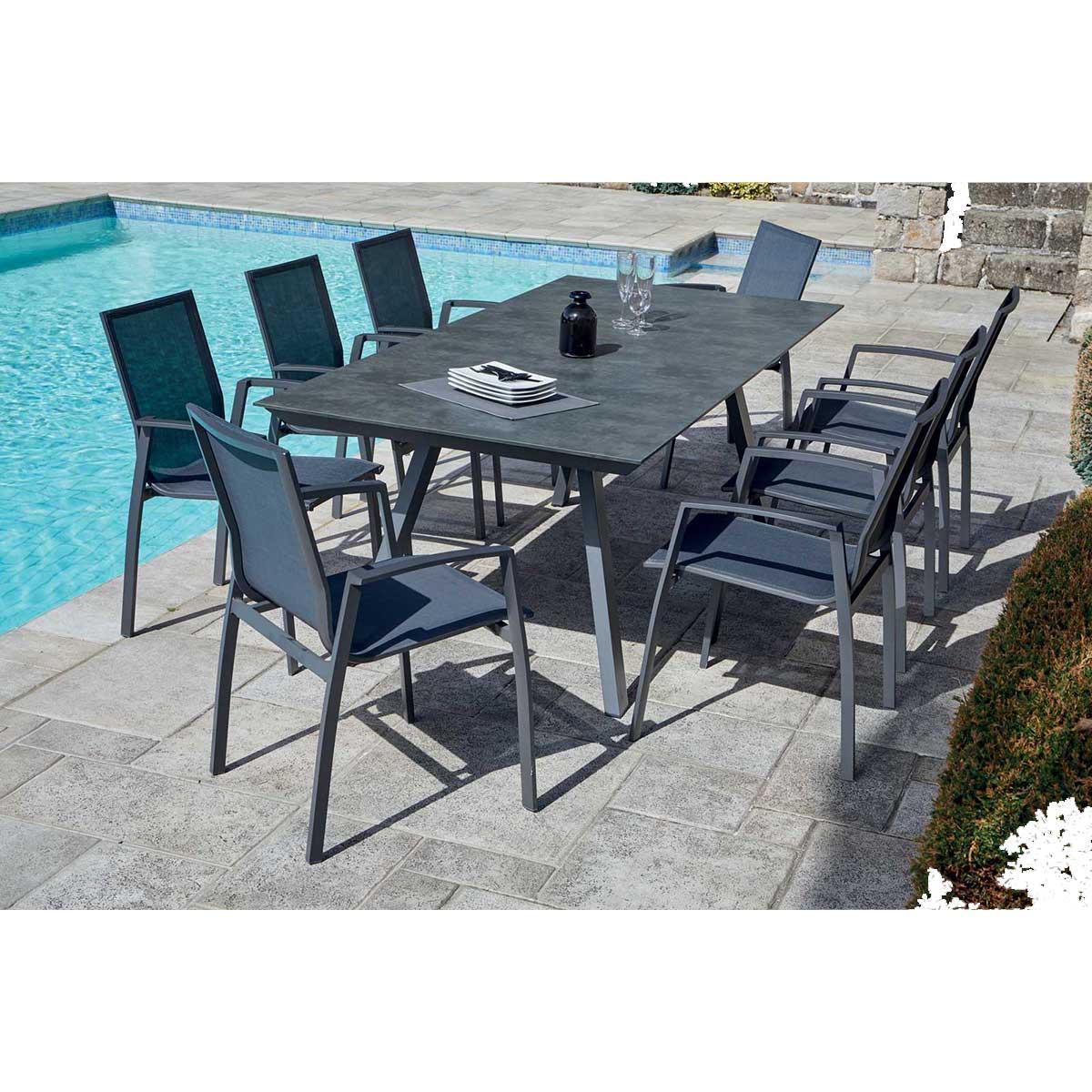 Ensemble de jardin avec fauteuils empilables - Anthracite - 200 x 100 x 74 cm