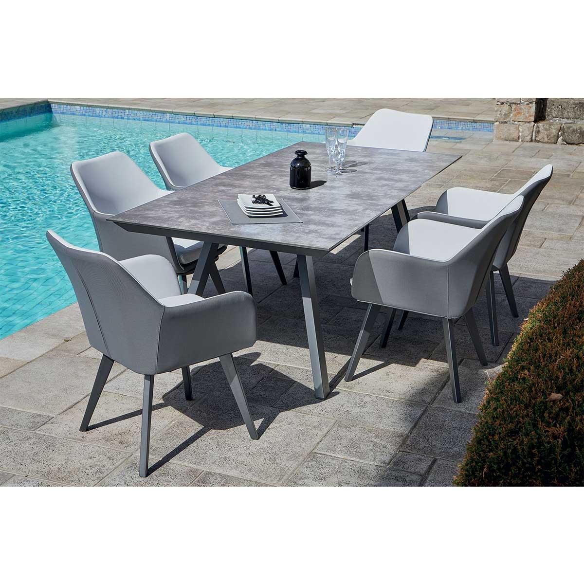 Ensemble de jardin fauteuils empilables avec coussins - Anthracite - 200 x 100 x 74 cm