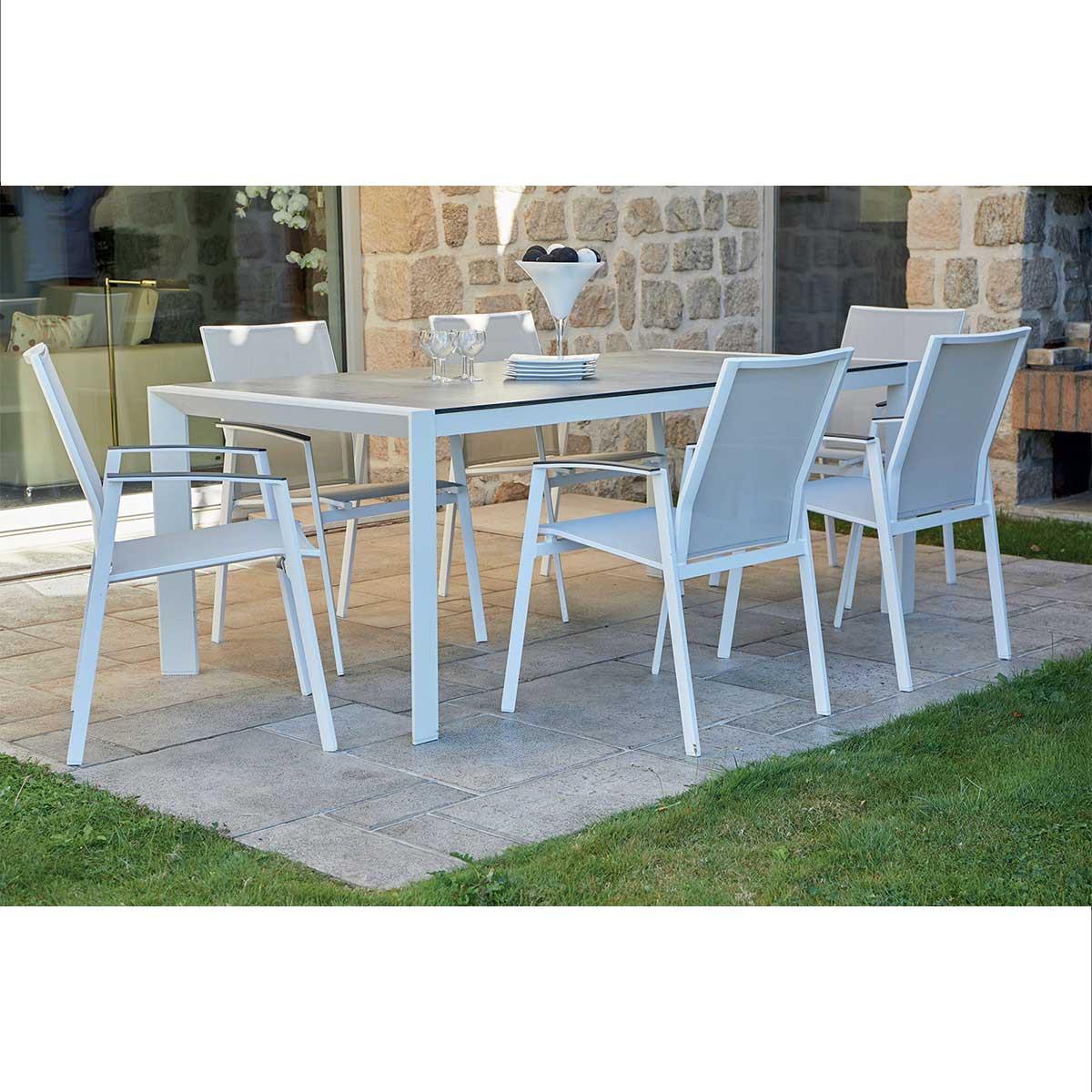 Ensemble de jardin en aluminium blanc (Blanc)
