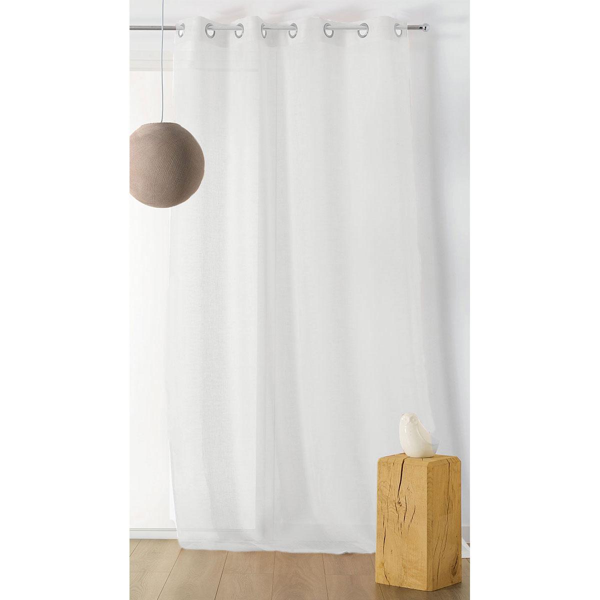 Voilage Ignifugé M1 Non Feu Aspect Polyester/Lin (Blanc)