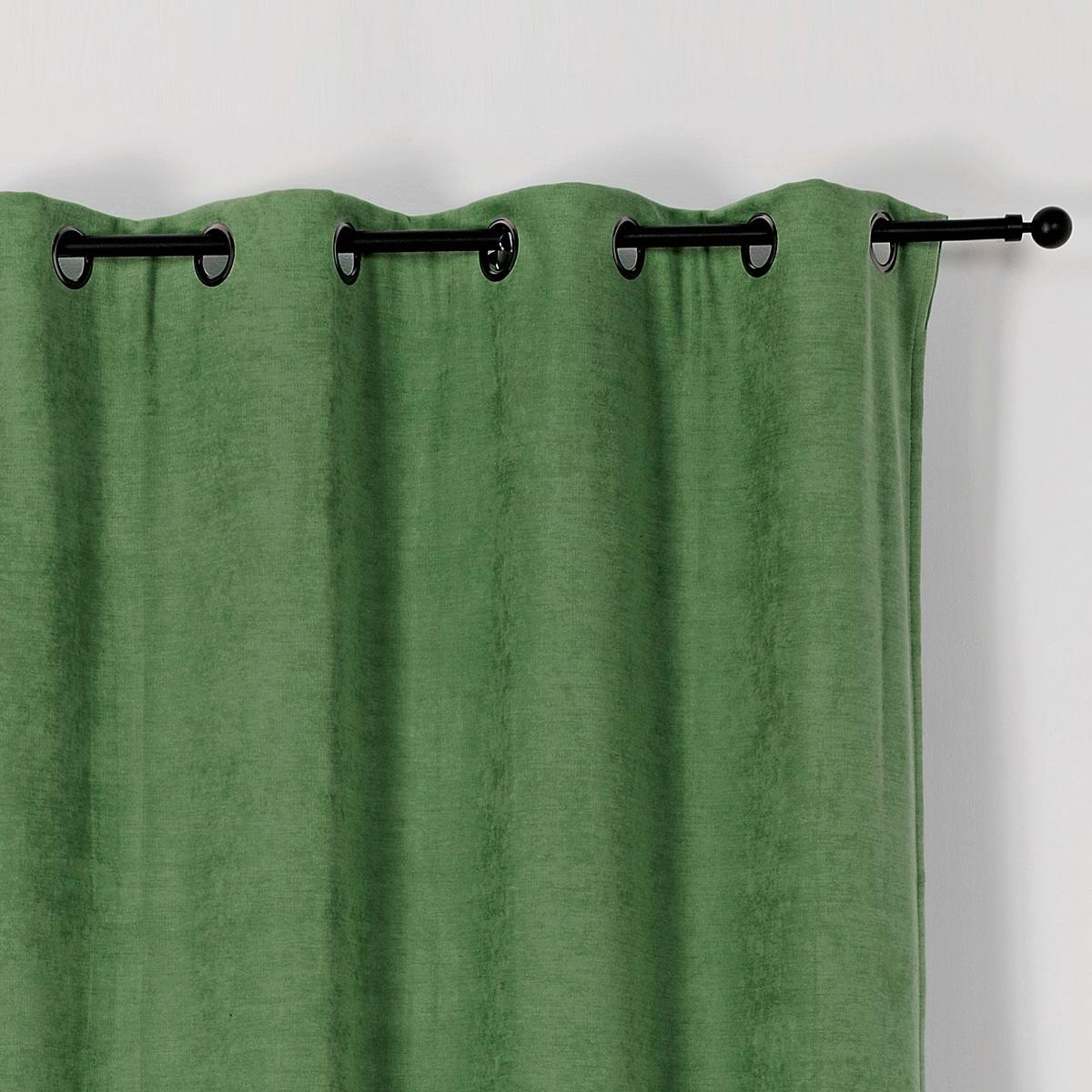 Rideau occultant et isolant avec envers gratté (Vert)
