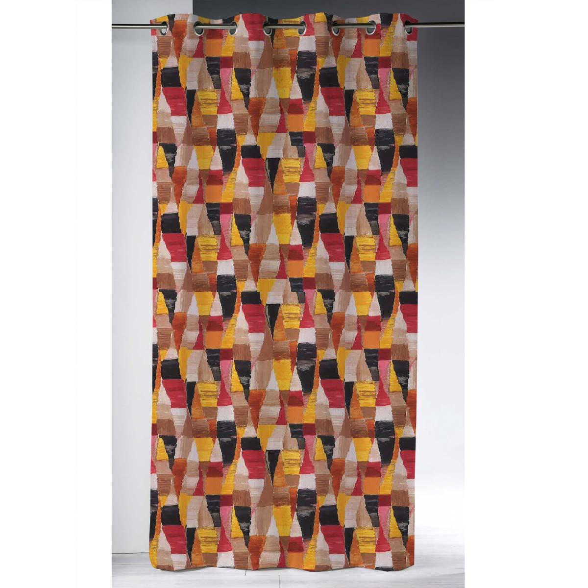 Rideau obscurcissant motif Arlequin (Orange)