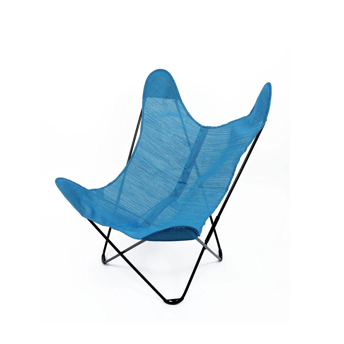 Fauteuil extérieur Papillon en toile batyline - Bleu