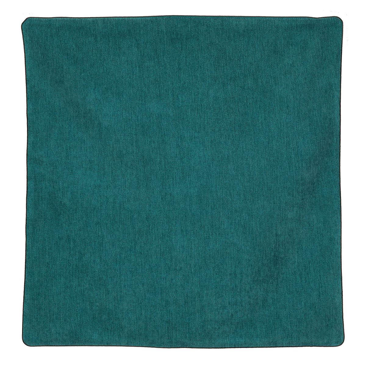 Housse de coussin passepoilée effet velours  (vert foncé)