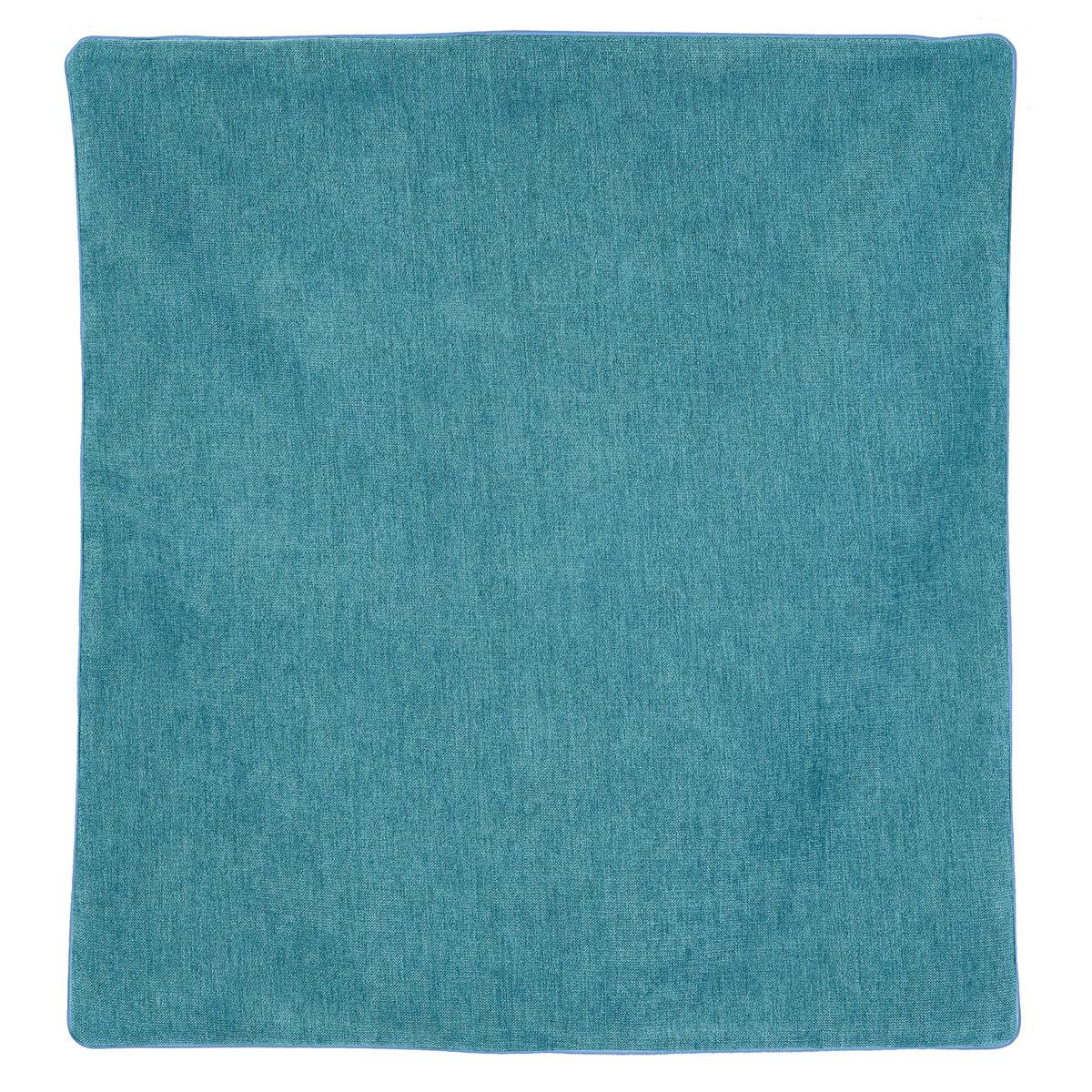 Housse de coussin passepoilée effet velours  (Bleu Turquoise)