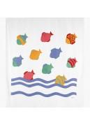 Rideau de douche à poissons colorés