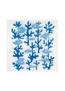 Rideau de douche en vinyle algues et poissons bleus