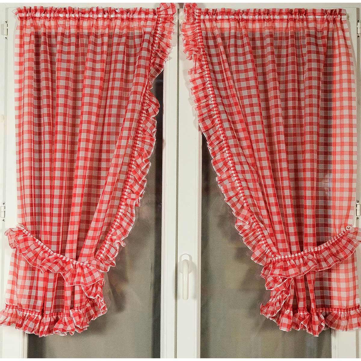 Paire de rideaux bonne femme à carreaux normands (Rouge)