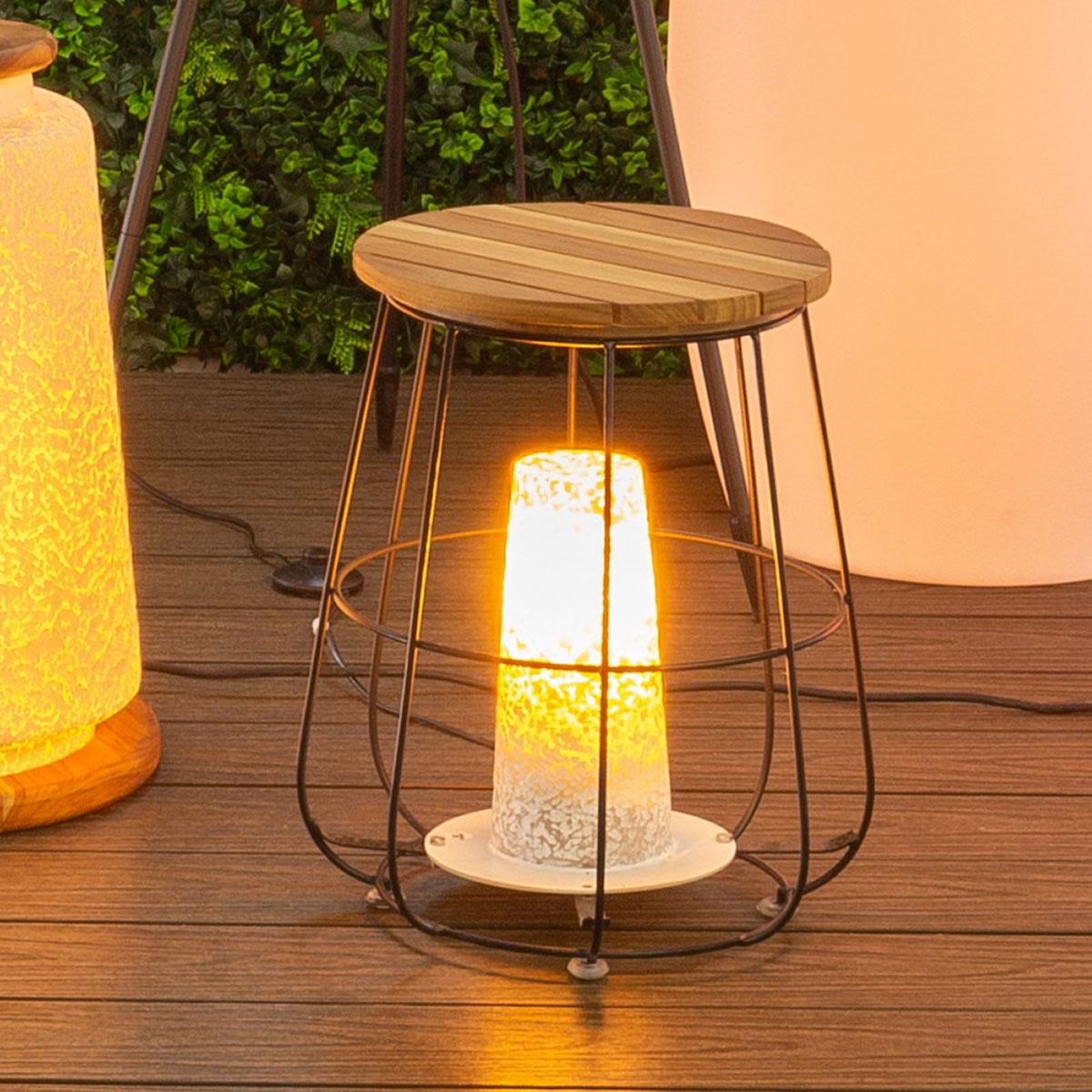 Lampe de table à poser en acier et bois - Ocre - 38.00 cm x 38.00 cm x 55.00 cm