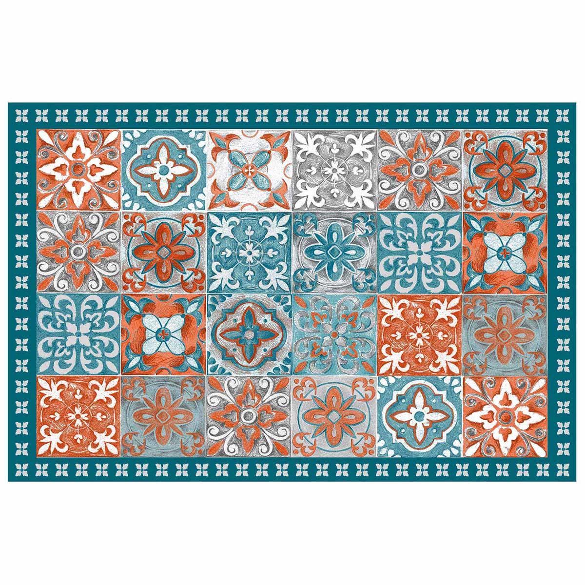 Tapis Effet Carreaux De Ciment tapis en vinyle effet carreaux de ciment (orange)