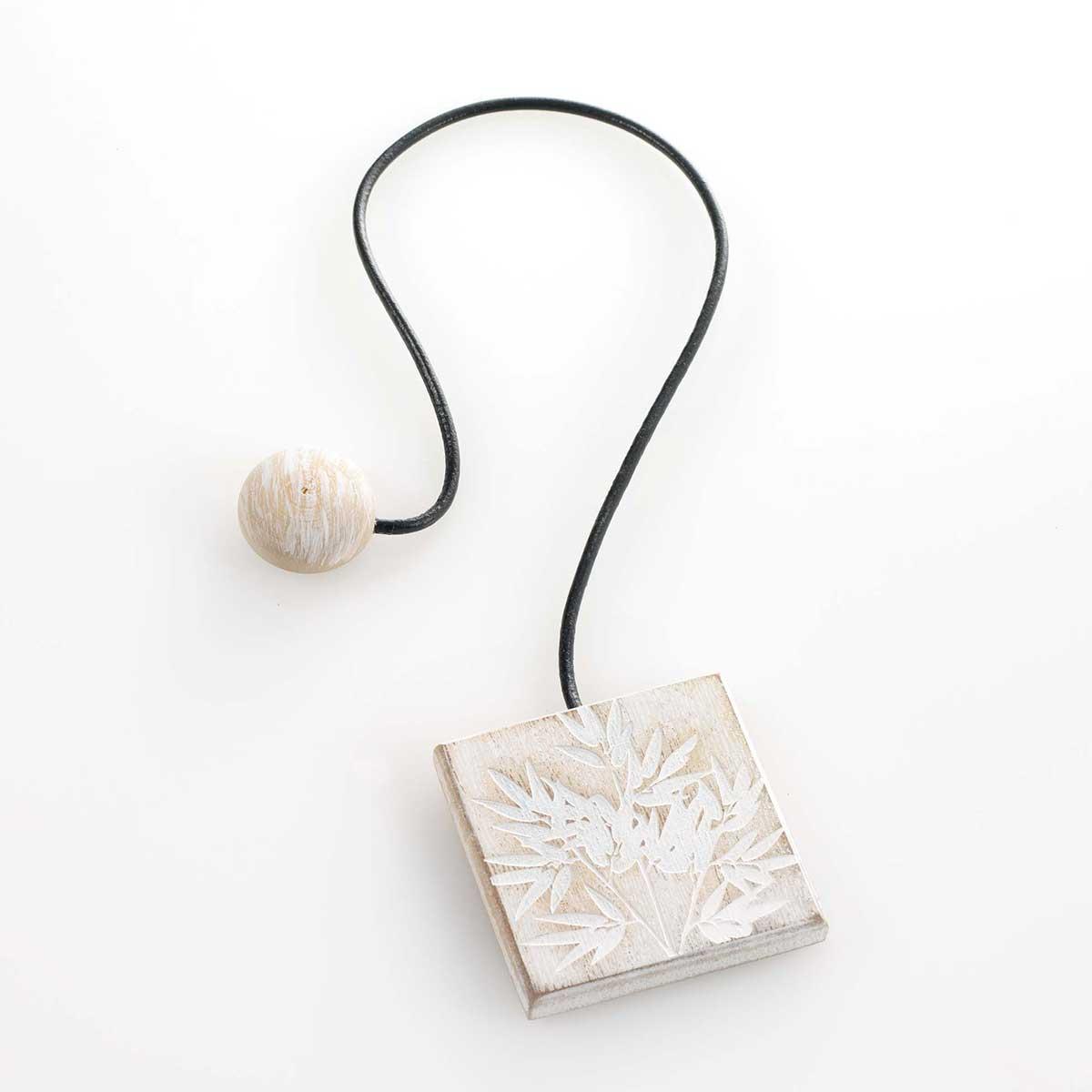 Embrasse aimantée carrée en fibres de bois forêt - Blanc - 43 x 6 x 6 cm