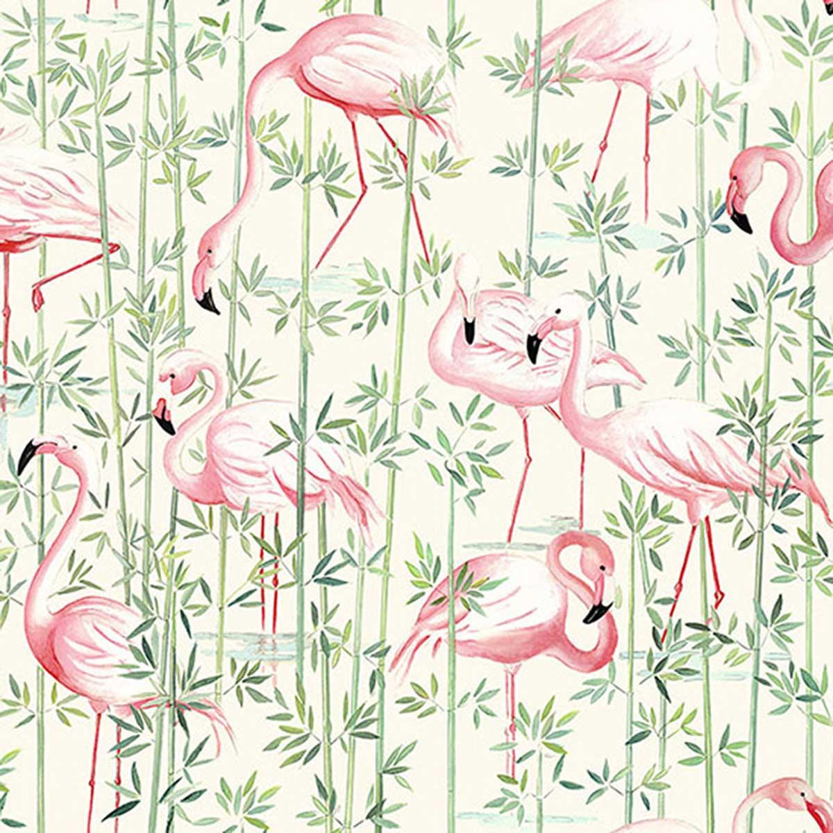Tissu en coton imprimé flamant rose - Crème - 1.4 m