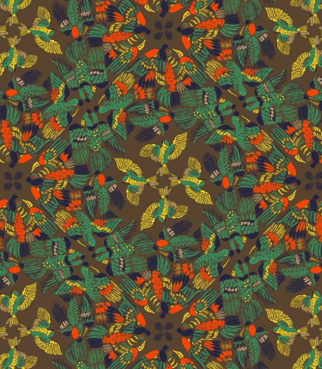 Tissu imprimé au paradis des oiseaux - Multicolore - 1.42 m