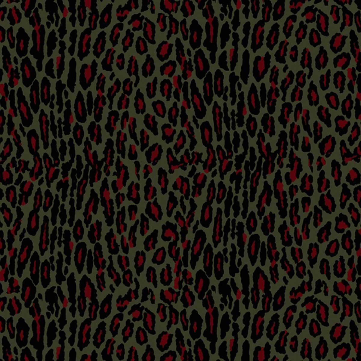 Tissu outdoor imprimé léopard coloré - Kaki - 1.42 m