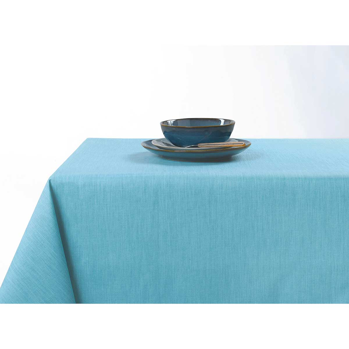Mantel recubierto anti-manchas con colores acidulados (Azul)