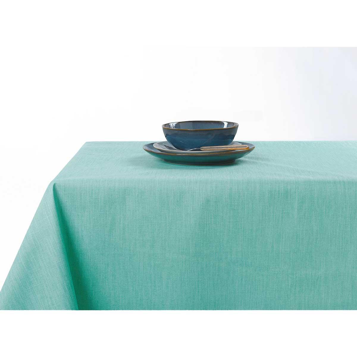 Nappe enduite anti taches aux couleurs acidulées - Vert d'eau - 150 x 200 cm