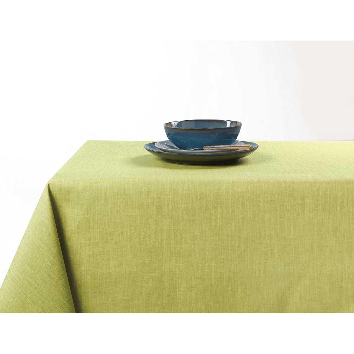 Nappe enduite anti taches aux couleurs acidulées - Vert clair - 150 x 200 cm