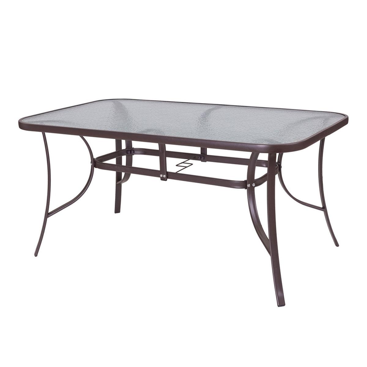 Table ovale en acier marron et verre trempé granité - Marron - 180.00 cm x 100.00 cm x 72.00 cm
