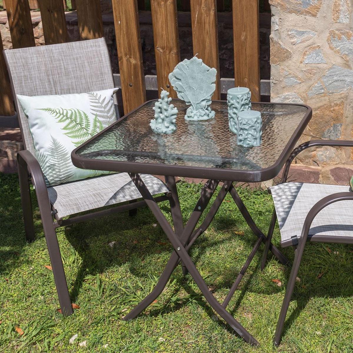 Table pliante en acier marron et verre trempé granité - Marron - 70.00 cm x 70.00 cm x 72.00 cm