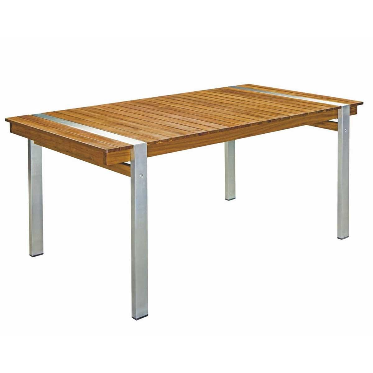 Table rectangulaire en bois et acier - Naturel - 220.00 cm x 100.00 cm x 73.50 cm