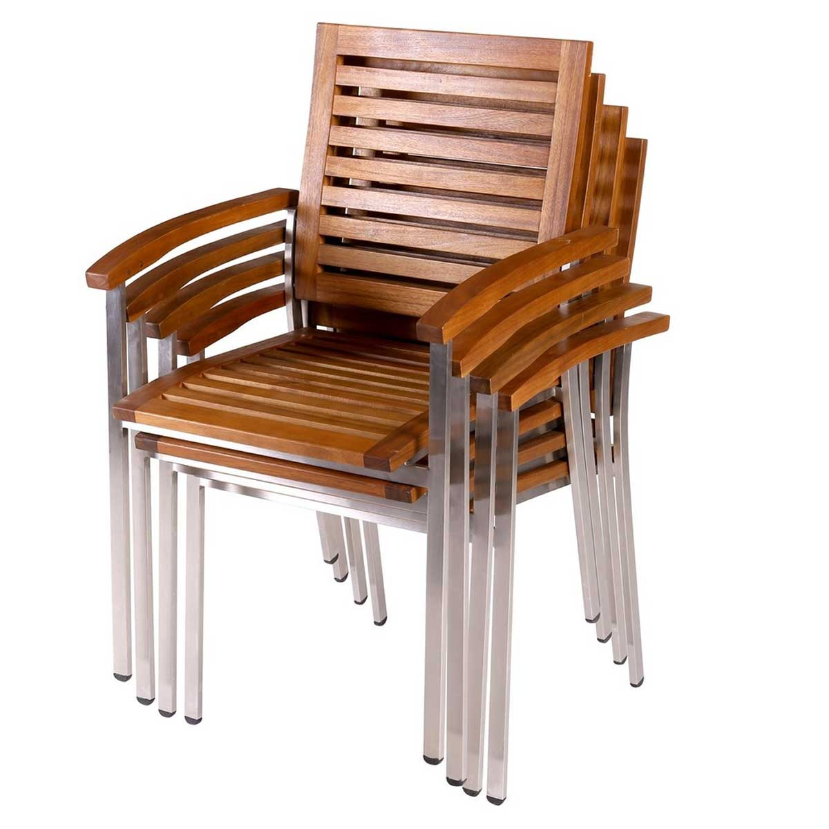 Lot de 4 fauteuils à bras en acacia - Naturel - 57.40 cm x 57.00 cm x 88.00 cm