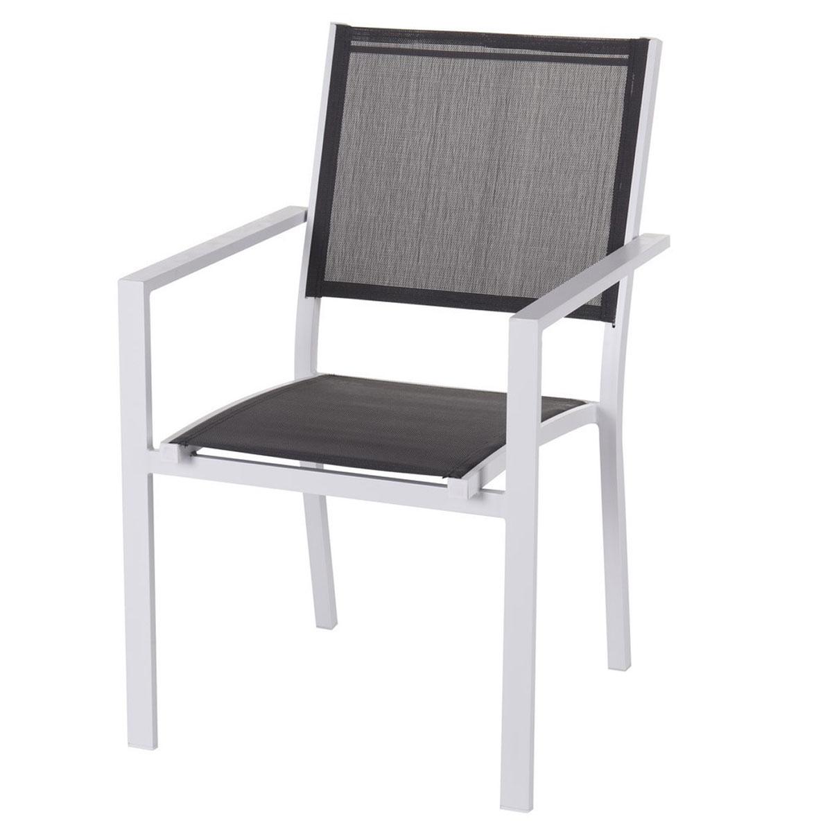Lot de 4 chaises en aluminium (Gris)