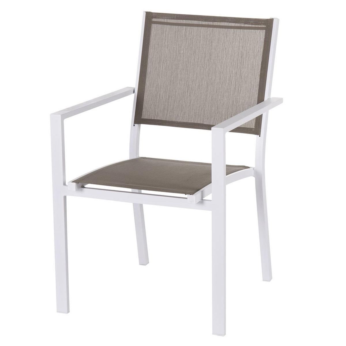 Lot de 4 chaises en aluminium - Taupe - 55.00 cm x 58.00 cm x 85.00 cm
