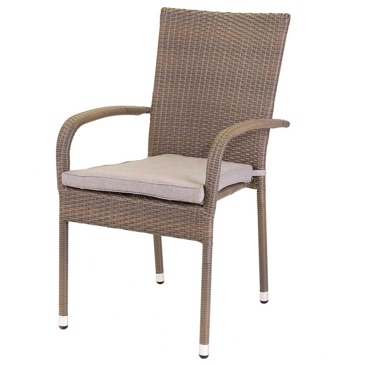 Lot de 2 chaises empilables avec accoudoirs arrondis - Taupe - 55.00 cm x 66.00 cm x 94.00 cm