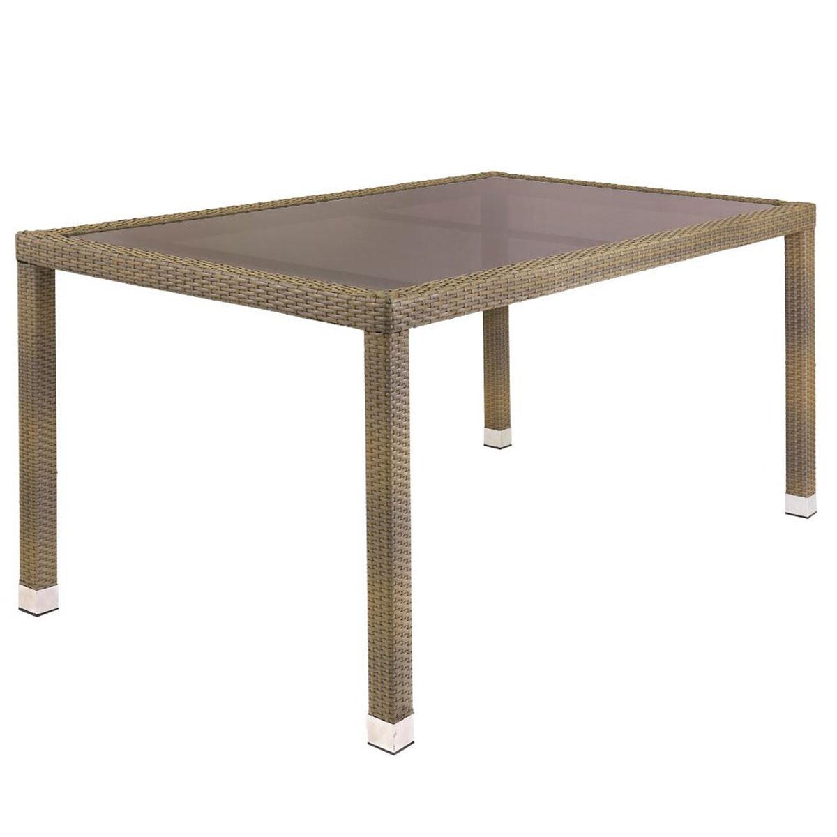 Table de jardin en rotin et verre - Taupe - 160.00 cm x 90.00 cm x 76.00 cm