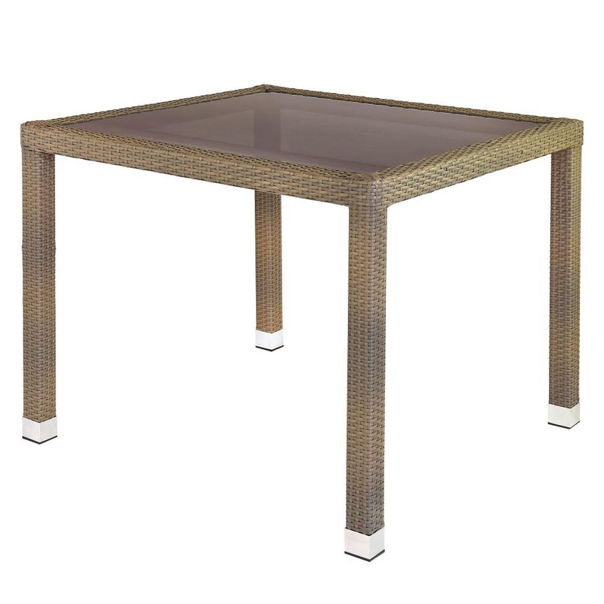 Table de jardin en rotin et verre - Taupe - 90.00 cm x 90.00 cm x 76.00 cm