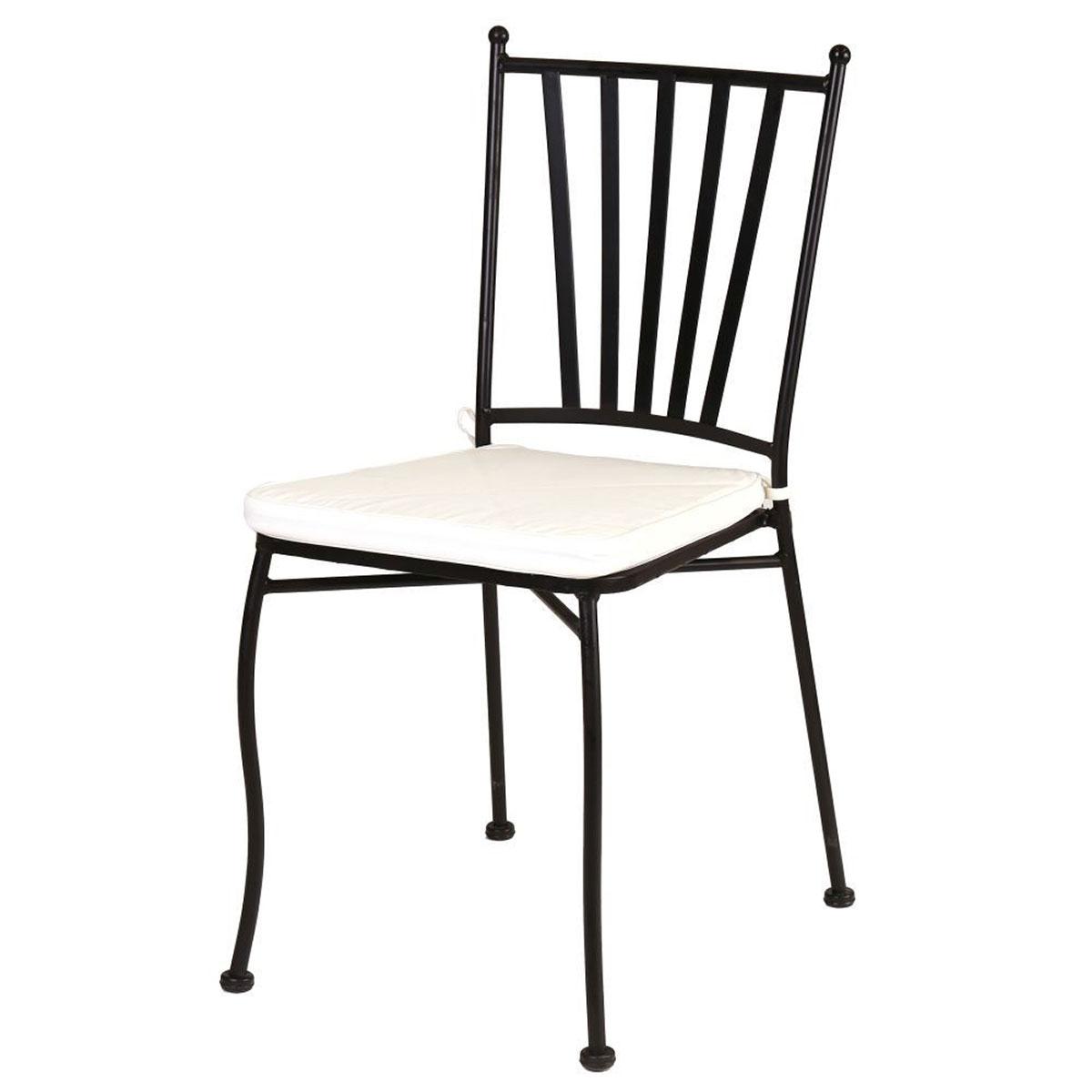 Chaise empilable en fer forgé - Noir - 40 x 53 x 90 cm