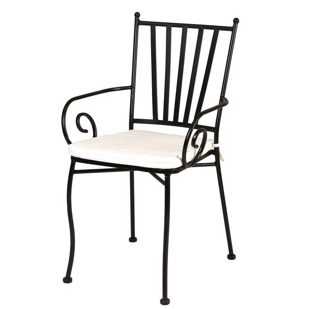 Chaise à bras en fer forgé - Fer forgé - 40.00 cm x 53.00 cm x 90.00 cm