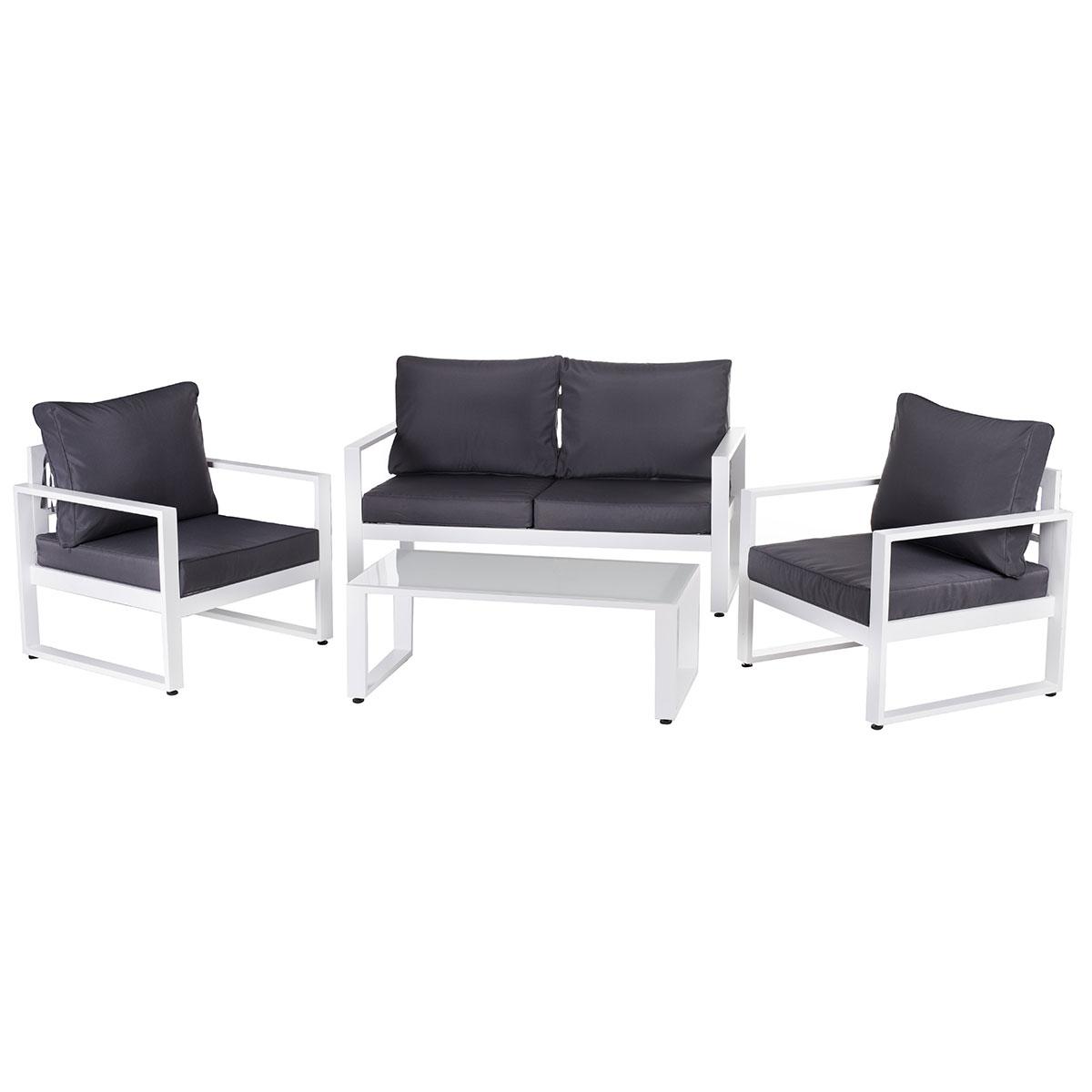 Salon détente en aluminium blanc - Gris/Blanc - 142.00 cm x 71.00 cm x 72.00 cm