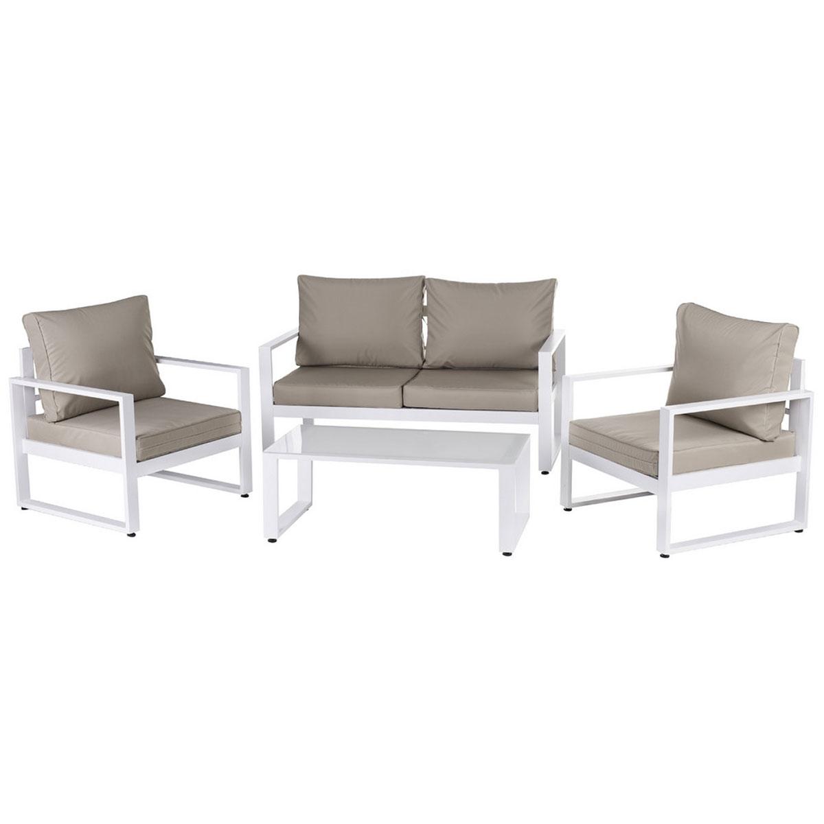Salon détente en aluminium blanc - Taupe/Blanc - 142.00 cm x 71.00 cm x 72.00 cm