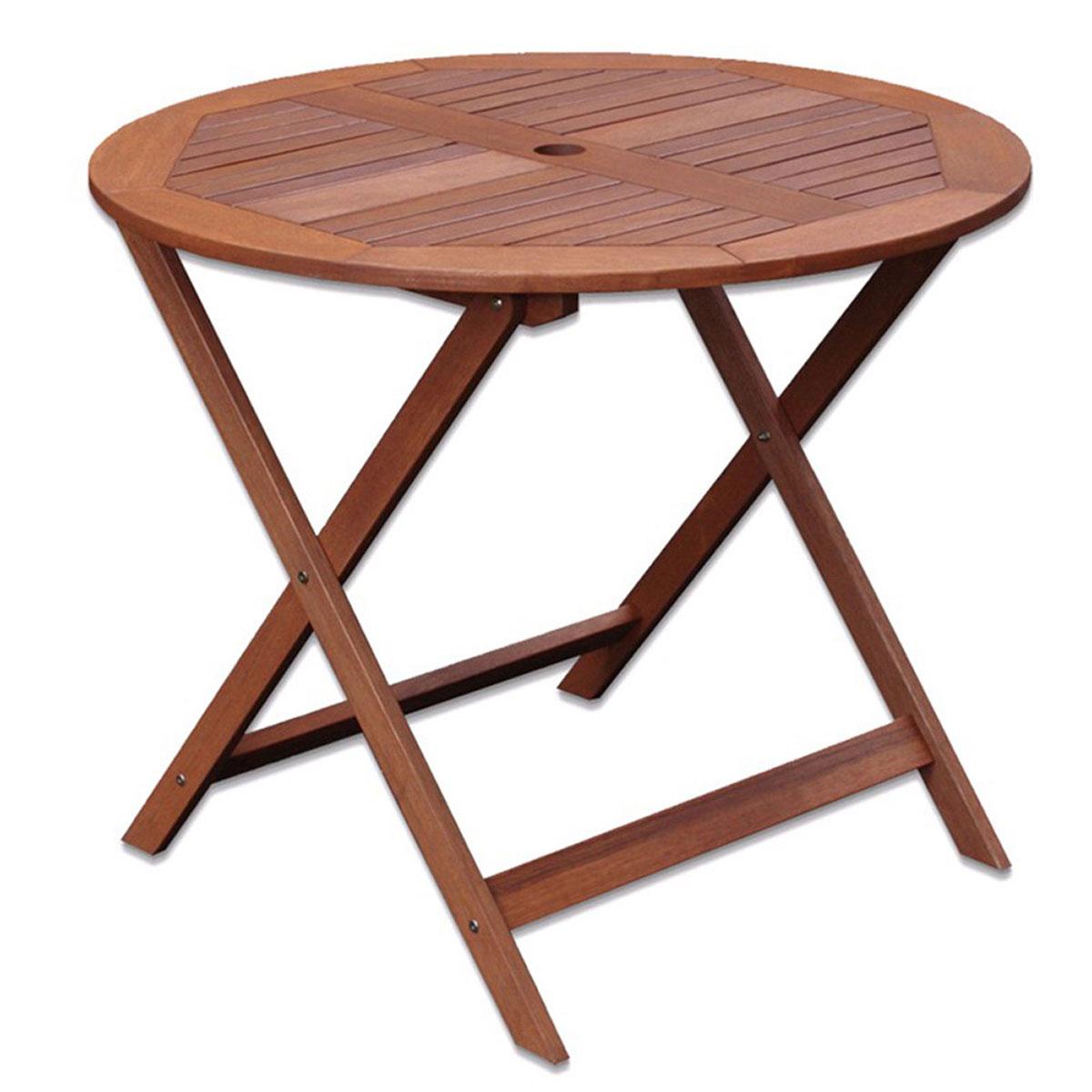 Table ronde en shorea - Naturel - 90.00 cm x 90.00 cm x 76.00 cm