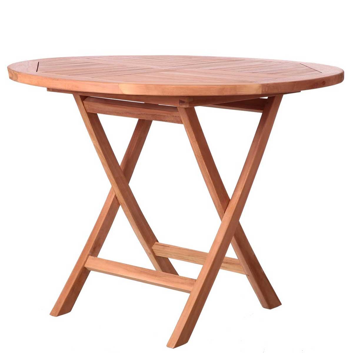 Table ronde et pliante en teck - Naturel - 100.00 cm x 100.00 cm x 78.50