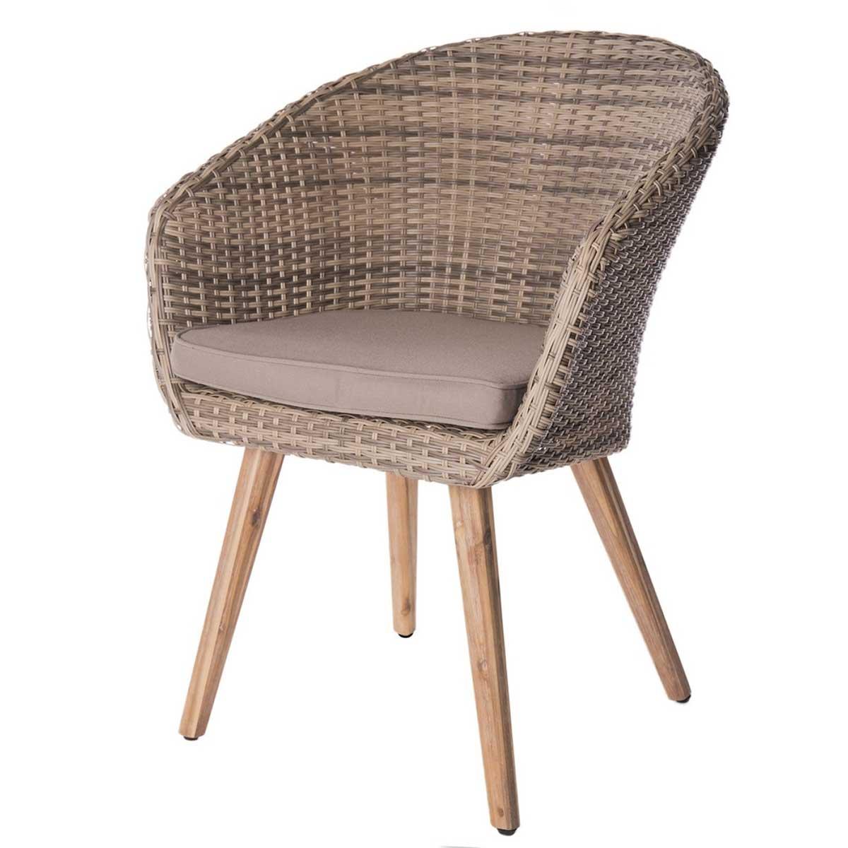 Lot de 4 chaises en rotin et acacia - Taupe - 60.00 cm x 63.00 cm x 84.00 cm
