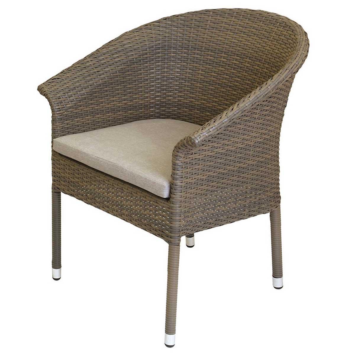 Lot de 2 fauteuils en rotin taupe - Taupe - 64.00 cm x 57.00 cm x 82.00 cm