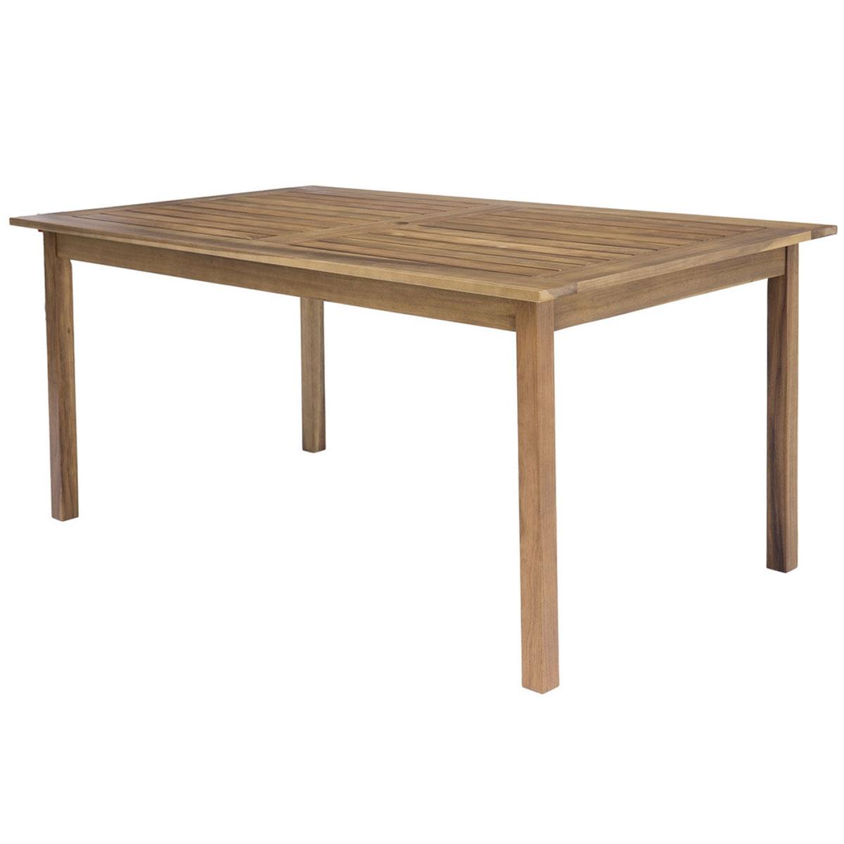 Table rectangulaire d'extérieur en acacia - Naturel - 150.00 cm x 90.00 cm x 75.00 cm