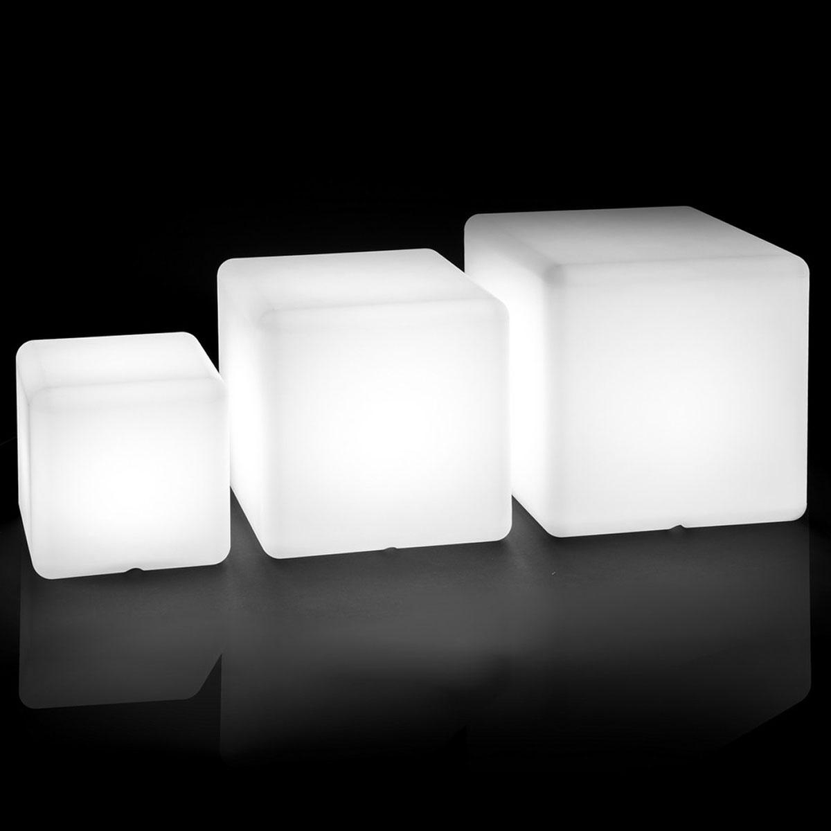 Cube lumineux d'extérieur décoratif - Blanc - 30.00 cm x 30.00 cm x 30.00 cm
