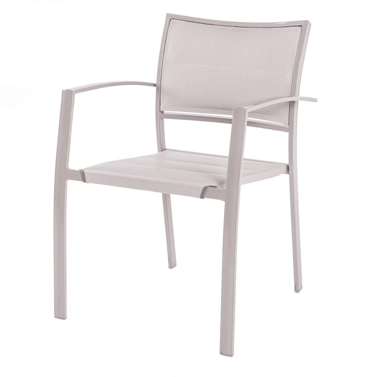 Lot de 4 chaises en acier et textilène gris - Gris - 55.50 cm x 57.00 cm x 82.00 cm