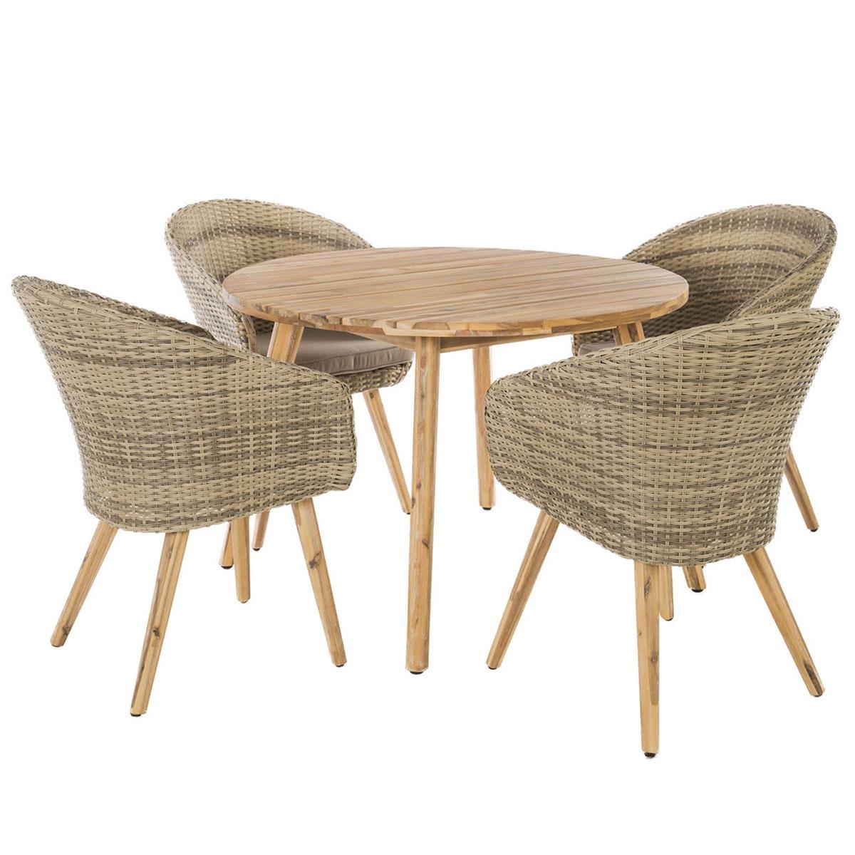 Salon de jardin avec fauteuils en rotin et acacia - Naturel - 60 x 63 x 84 cm