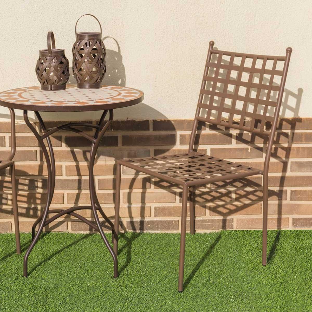 Lot de 4 chaises empilables en fer forgé - Oxydé - 48.00 cm x 55.00 cm x 90.00 cm