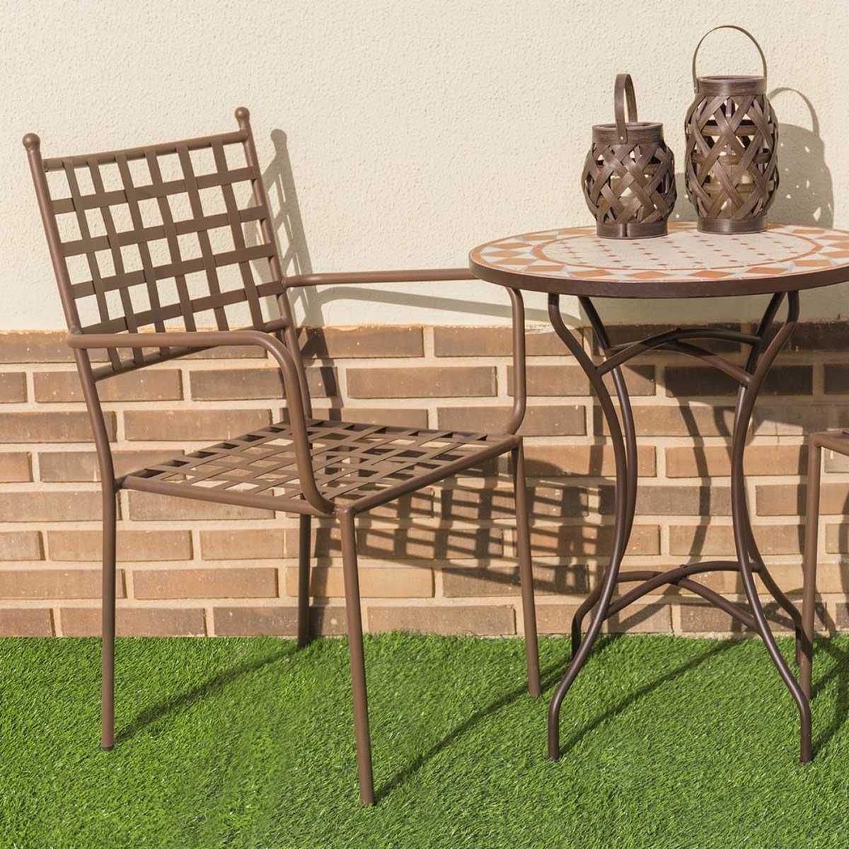 Lot de 4 chaises à accoudoirs en fer forgé - Oxydé - 56.00 cm x 55.00 cm x 90.00 cm