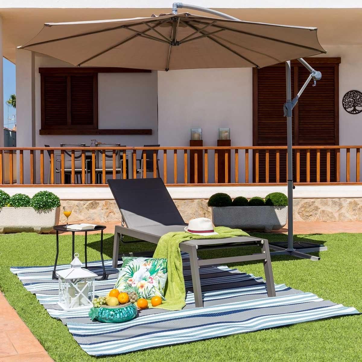 Chaise longue en aluminium et textilène - Gris - 200.00 cm x 102.00 cm x 65.00 cm