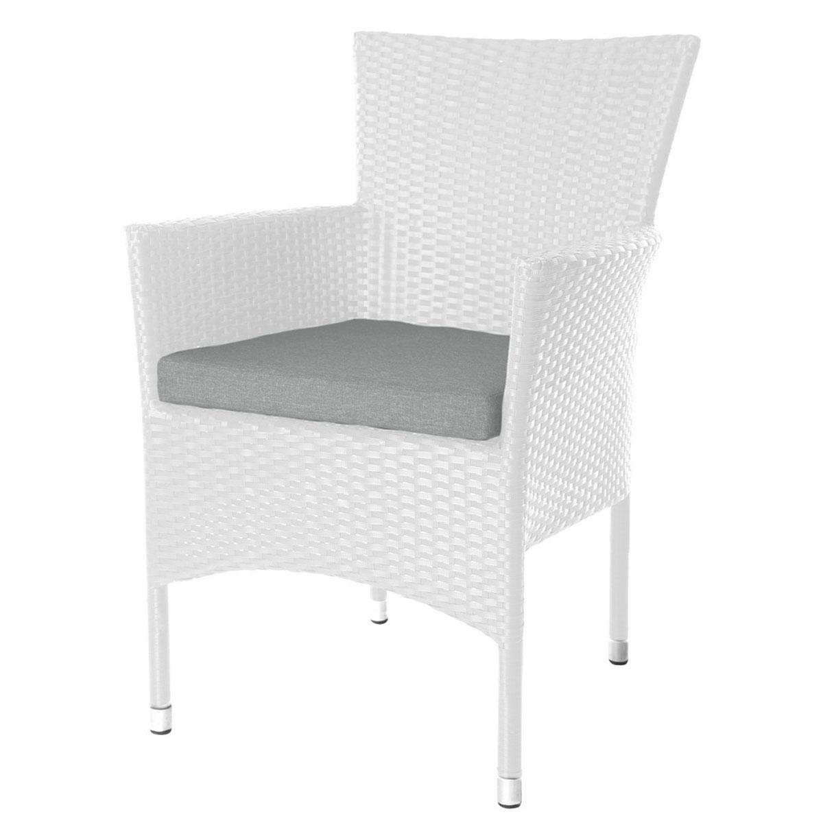 Lot de 2 fauteuils empilables en rotin taupe - Blanc - 55.00 cm x 66.00 cm x 87.00 cm