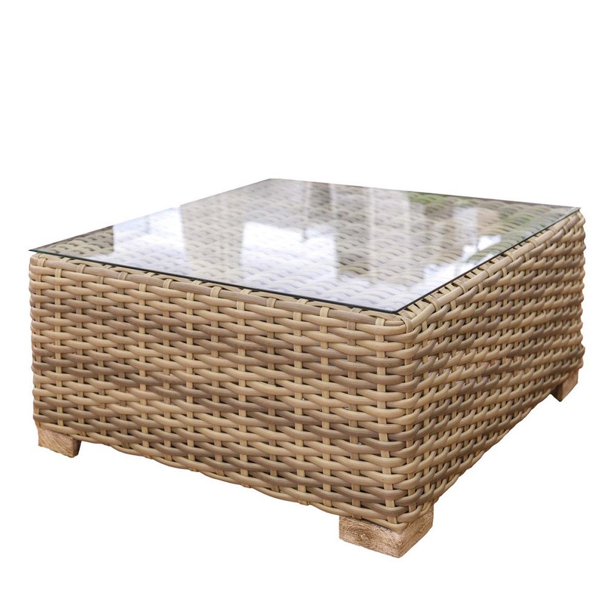 Table d'extérieur en rotin - Marron - 80.00 cm x 80.00 cm x 38.00 cm