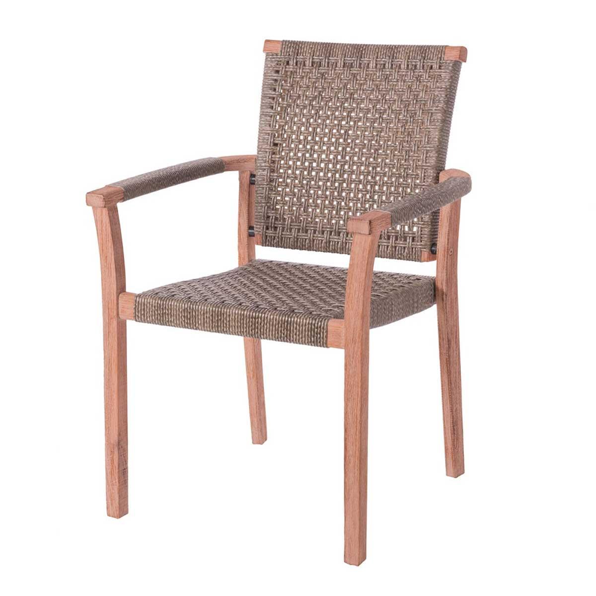 Lot de 4 chaises empilables en bois et rotin - Champagne - 62.50 cm x 60.00 cm x 88.00 cm